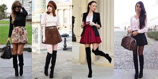 Как модницы носят высокие кожаные сапоги на каблуке